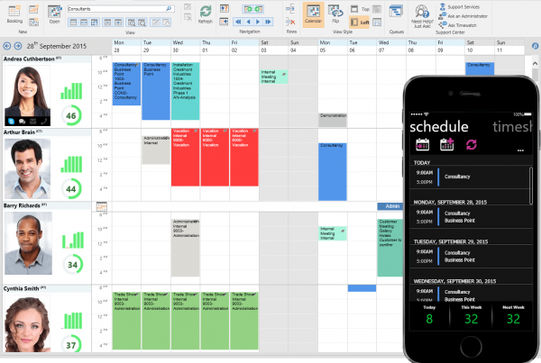 resource scheduling view